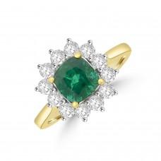 18ct Gold Emerald & Diamond Cushion Cluster Ring