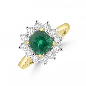 18ct Gold Emerald & Diamond Cushion Cluster Ring