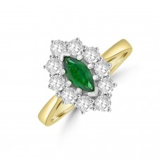 18ct Gold Marquise Emerald and Diamond Cluster Ring
