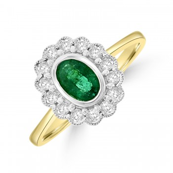 18ct Gold Emerald and Diamond Vintage style Cluster Ring