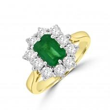 18ct Gold 1.05ct Emerald & Diamond Emerald cut Cluster Ring