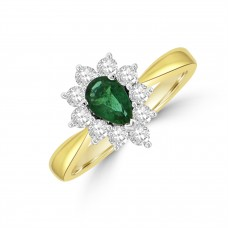 18ct Gold Pear .49ct Emerald and Diamond Cluster Ring