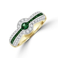 18ct Gold Emerald & Diamond Eternity Ring