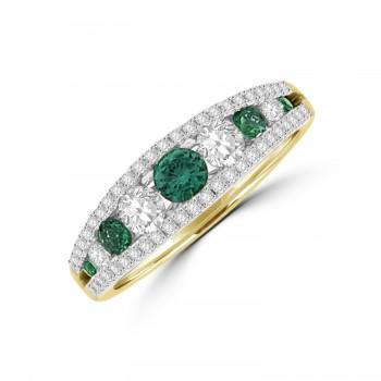18ct Gold Emerald & Diamond 3-row graduated Eternity Ring