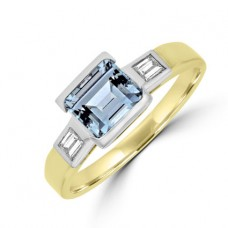 18ct Gold Aqua Solitaire Ring with Diamond Baguette Shoulders