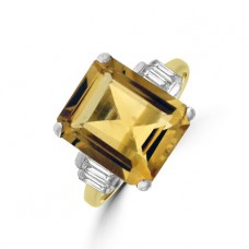 18ct Gold Citrine & Diamond Ring