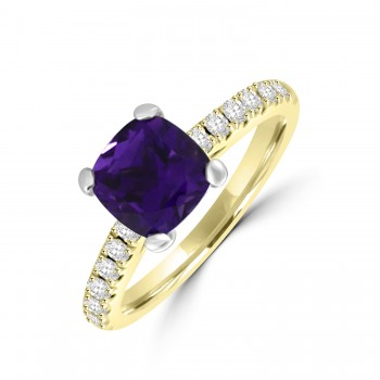 18ct Gold Amethyst Solitaire Diamond Ring