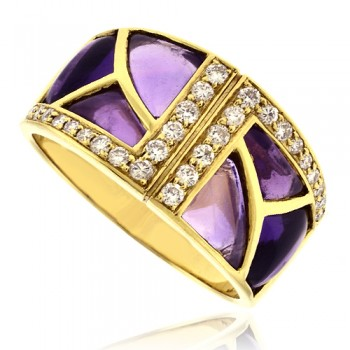 18ct Gold Amethyst & Pave Diamond Broad Band Ring
