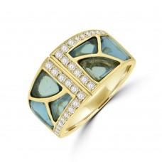 18ct Gold Aquamarine & Diamond Broad Band Dress Ring