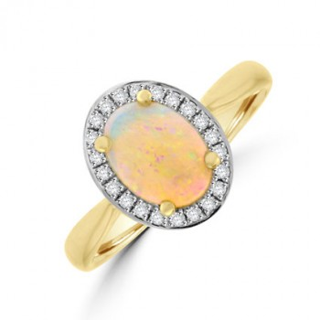 18ct Gold Opal Diamond Halo Ring