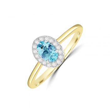 18ct Gold Oval Aquamarine Diamond Halo Ring
