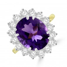 18ct Gold 2.70ct Amethyst and Diamond Oval Cluster Ring