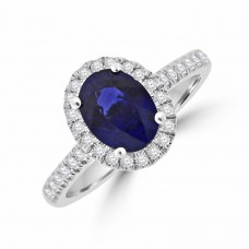 18ct White Gold Sapphire & Diamond Oval Halo Ring