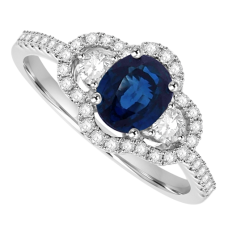 18ct White Gold 3-Stone Sapphire & Diamond Pave Cluster Ring