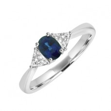 18ct White Gold Three-stone Sapphire & Diamond Ring