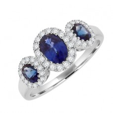 18ct White Gold Three-stone Sapphire & Diamond Surround Ring