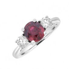 18ct White Gold 3-Stone Red Sapphire & Diamond Ring