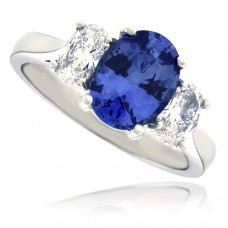 18ct White Gold 3-stone Sapphire & Diamond Ring