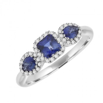 18ct White Gold Three-Stone Sapphire & Diamond Halo Ring