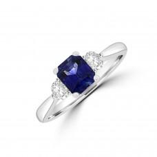 18ct White Gold 1.06ct Sapphire & Diamond Three-stone Ring