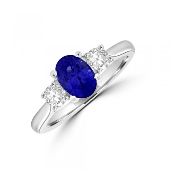 18ct White Gold Oval Sapphire & Diamond Three-stone Ring