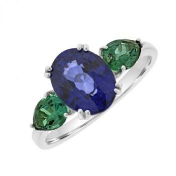 18ct White Gold Sapphire & Emerald 3-stone Ring