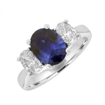 18ct White Gold Three-stone Oval 2.01ct Sapphire & Diamond Ring