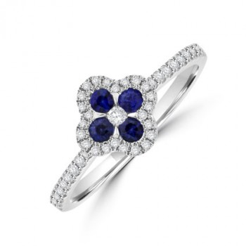 18ct White Gold Sapphire & Diamond Flower Ring
