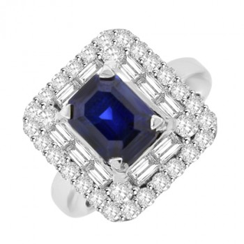 18ct White Gold Emerald cut Sapphire & Baguette Diamond Cluster