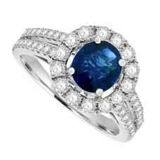 18ct White Gold Sapphire Solitaire Diamond Halo Ring