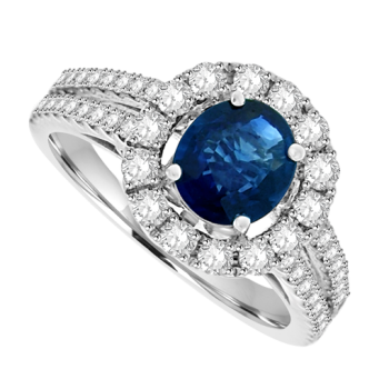 18ct White Gold Sapphire Solitaire Diamond Halo Ring