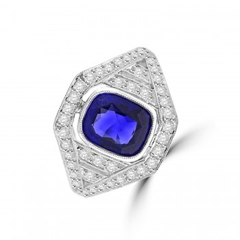 18ct White Gold Cushion Sapphire and Diamond Cluster Ring
