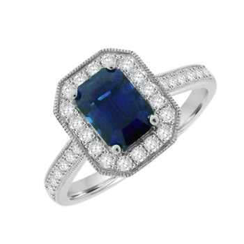 18ct White Gold Sapphire & Diamond Halo Ring