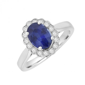 18ct White Gold oval Sapphire & Diamond Cluster Ring