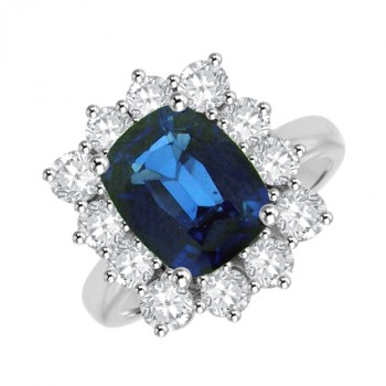 18ct White Gold Cushion Sapphire & Diamond Cluster Ring