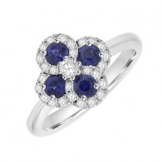 18ct White Gold 4-Stone Sapphire & pave Diamond Cluster Ring