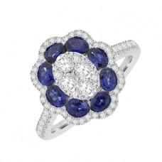 18ct White Gold Sapphire & Diamond Flower Cluster Ring