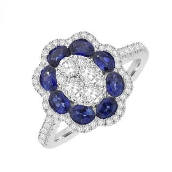18ct White Gold Sapphire & Diamond Flower Cluster Ring