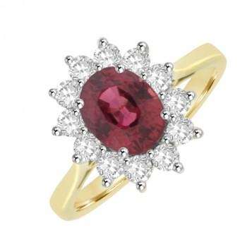18ct Gold Oval Red Sapphire & Diamond Cluster Ring