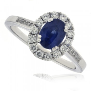 18ct White Gold oval Sapphire & Diamond Halo Ring