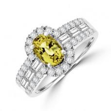 18ct White Gold Yellow Sapphire & Diamond Halo Ring