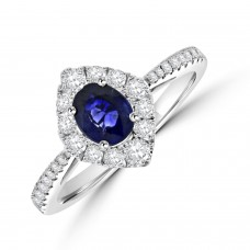 18ct White God Sapphire & Diamond Marquise shaped Cluster Ring