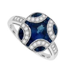 18ct White Gold Sapphire & Diamond Vintage Cluster Ring