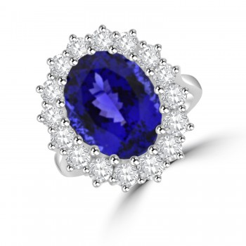 18ct White Gold 7.00ct Tanzanite & Diamond Cluster Ring