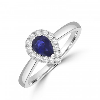 18ct White Gold Pear .52ct Sapphire Diamond Halo Ring