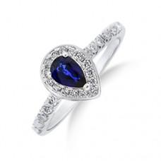 18ct White Gold Pear cut Sapphire Diamond Halo Ring