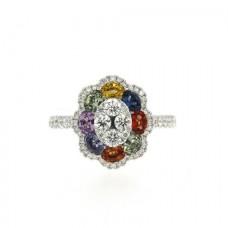 18ct White Gold Rainbow Sapphire & Diamond Cluster Ring