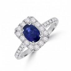 18ct White Gold Sapphire & Diamond Oblong Halo Ring
