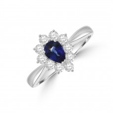 18ct White Gold Pear .56ct Sapphire and Diamond Cluster Ring