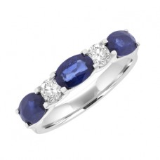 18ct White Gold 5-Stone Sapphire & Diamond Eternity Ring